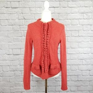 Moth Anthro red orange ruffle snap front cardigan